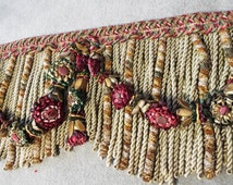 Antique French Chateau Passementerie Valance Pelmet Lyon Silk Wired Flowers Garlands