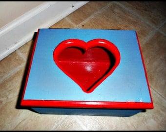 Boys and Girls Valentine's Day Card Box, Wood Card Box, Valentines Card Box, Card Storage, Storage Box, Keepsake Box, Heart Box, Childs Box