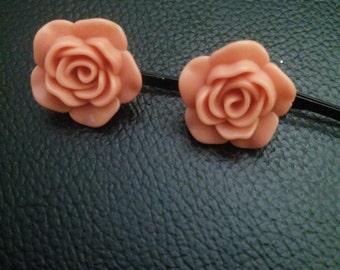 Salmon rose flower bobby pins-bobby pins-rose bobby pins-flower bobby pins