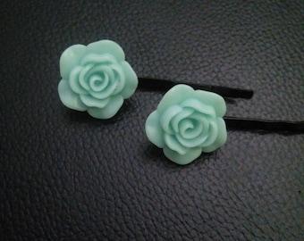 light blue rose flower bobby pins-bobby pins-flower bobby pins-bobby pins-rose bobby pins