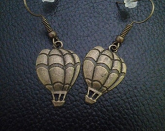 Bronze hot air balloon dangle earrings-hot air balloon jewelry-hot air balloon earrings