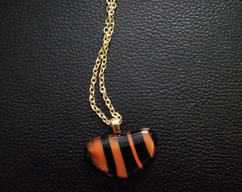 Glass blown pendant-orange & black glass blown pendant