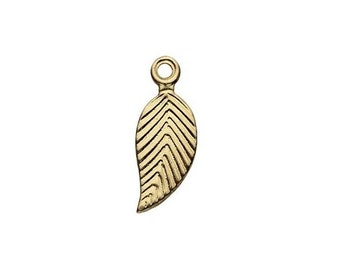 10 pcs, Leaf Charms, 14K Gold Filled, Tiny Drop Dangles GF, 12 x 5mm