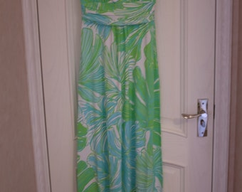 sloane style maxi dress made with authentic lilly pulitzer fabric  Green Sheen Fronds Place Size SML