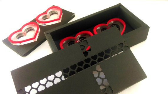 Bridesmaid gift idea Wedding heart decor Napkin Ring Holders Red Heart Black and red decor Beautiful Handmade Gift Box Party favors Set of 6