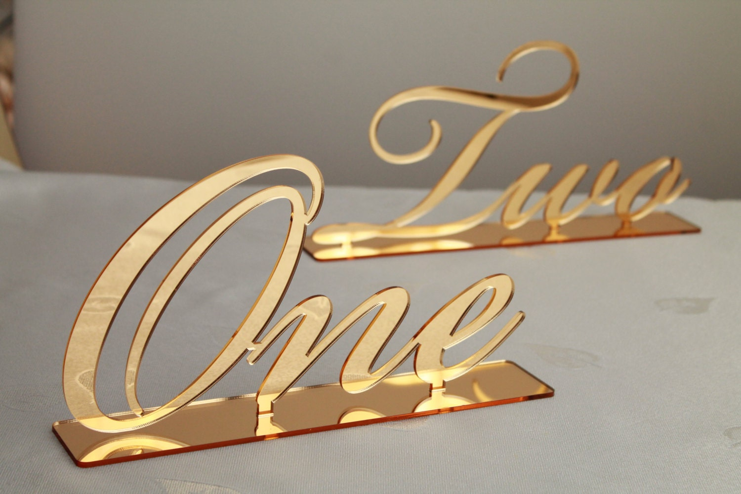 Gold mirror table numbers large cursive freestanding for Table numbers