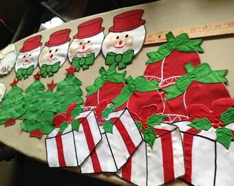 Christmas Craft Cloth Decor Snowman, Bell, Coasters, Candycane, Wreath, Tree.  32 pieces!