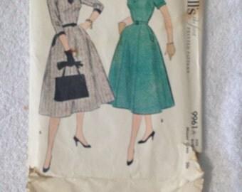 1954 McCalls #9961 Misses' Dress Pattern Size 16 Bust 34.  Uncut