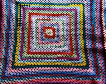 Colourful crochet throw