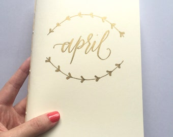 Custom Journal (Cream and Gold, Notebook, Handmade, Personalized, Hand Lettered, Moleskine Cahier Style, 5.5x8.5in)