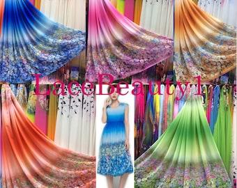 Blue/red/yellow/orange/green chiffo soft chiffon venice chiffon floral chiffon apparel chiffon dress chiffon vintage chiffon