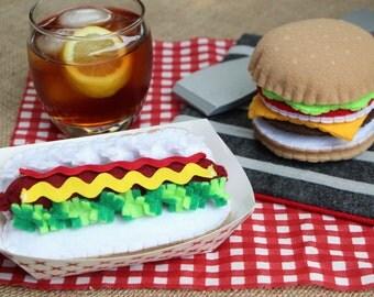 Felt Food Grill Set - Hamburger/Cheeseburger - Hot Dog - Pretend Play