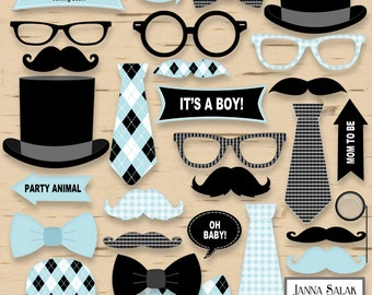 Printable Little Man Photo Booth Props Baby Shower Blue and Black Pdf DIY INSTANT DOWNLOAD