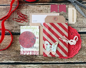 SALE!!  Christmas tag kit, paper pack, scrapbook embellishments, christmas, tag kit, packaging, package embellishments, holiday tags