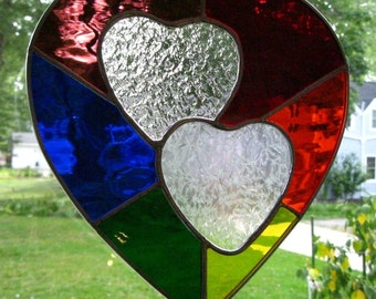 """Beautiful New Stained Glass Suncatcher """"Two Hearts"""" 6 Color Rainbow Background 10""""x11"""" Hanging Hardware Incl., U.S. ARTIST, U.S. MADE © 2016"""