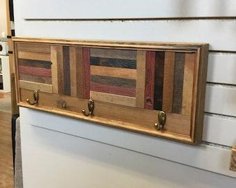 Coat rack**FREE shipping ** hanging wall rack reclaimed barnwood reclaimed wood coat hooks