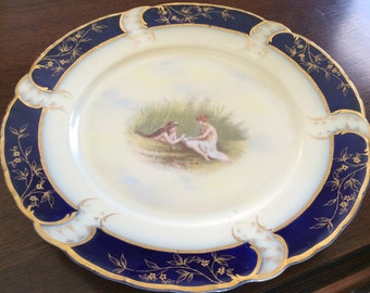 Beautiful Antique Rosenthal China Scalloped Plate With Pictorial Nymphs
