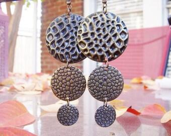Boho Earrings, round disc earrings, brass, long earrings, E591