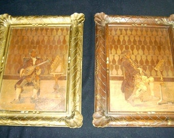 pair of inlaid wood panels