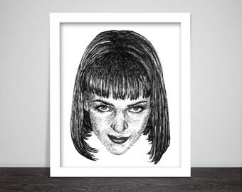 Scribbled Mia Wallace (Uma Thurman) - Pulp Fiction Poster