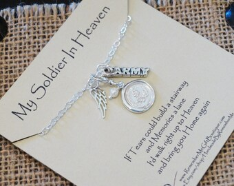 Army Memorial Jewelry, My Soldier In Heaven, Army Memorial Necklace, Forget Me Not, Sterling Silver Memorial Jewelry, Sympathy Gift