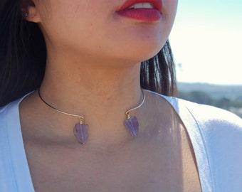 Amethyst Drop Gold Wire Collar Necklace // Handmade crystal choker