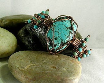 Turquoise Slab Bracelet w/ Spiral Links - Egyptian - Native American
