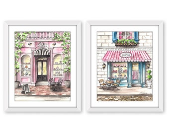 Set of 2, Watercolor Prints, French Bakery, Paris Cafe, French Patisserie, Les Petits Gâteaux, 5x7, 8x10, 11x14, 13x19, Watercolor Painting