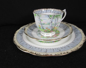 "Luncheon Trio, Pedestal Teacup w/ Saucer & 8 1/8"" Salad Plate, ROYAL ALBERT ""Silver Birch"" Country Scenes, Gold Trim English Porcelain"