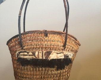 Vintage Wicker Handbag With Safari Detail