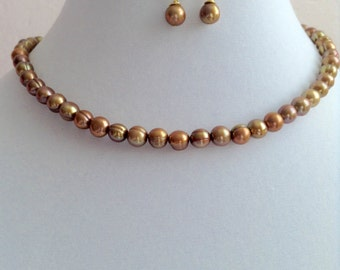 Golden Harvest Freshwater Pearl Necklace and Earring Set