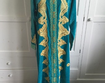 Luxury Cotton Velvet Gold Embellished Moroccan Jalibaya