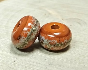 Rust and Silver Lampwork Rondelles, Two Beads