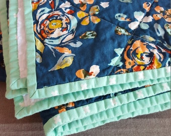 Navy Floral Quilt