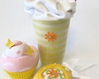 Baby Shower Gift Set - Yellow, Bodysuit Milkshake, Socks Cupcake and Washcloth Lollipop, Unique Baby Shower Gift.