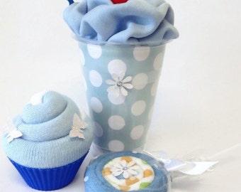 Baby Shower Gift Set - Blue, Bodysuit Milkshake, Socks Cupcake and Washcloth Lollipop, Unique Baby Shower Gift.