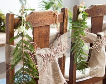 Wire Chair backs, Chairbacks, Copper chair backs, modern chairbacks, Wedding decoration, Wedding chair Decorations, Industrial
