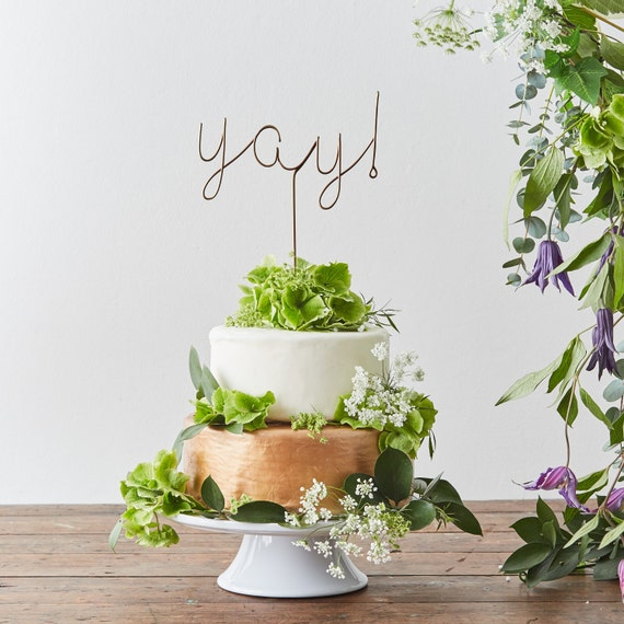 Yay Wire Cake Topper, Copper Cake Topper, Party Decoration, Metallic Cake Topper, Cake Topper, Yay cake topper, cake toppers, best sellers