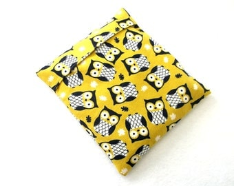 Corn Heating Bag, Yellow Owls Heat Pad Cover, Microwave Heating Pack, Cold Pack, Handmade Heat Pack, Spa & Relaxation, for Aches and Pains