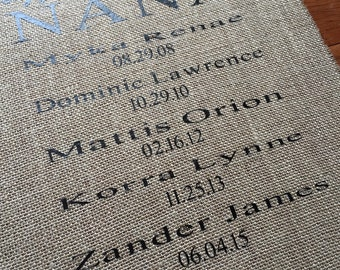 Burlap Piece with Grandchildrens Names