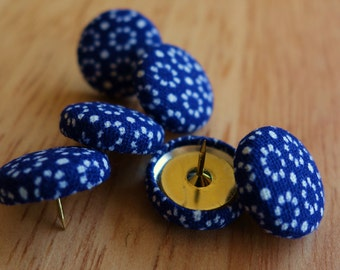 Set of 6 floral blue fabric push pins