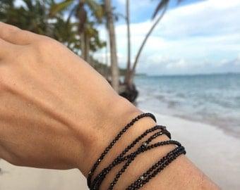 Diamond Look, Black Spinel, Black gemstone jewelry, Beaded Bracelet , Chakra Bracelet, Black Spinel Bracelet, Bracelet Black, Gemstone Gift