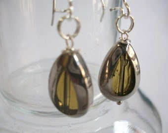 Long earrings with Teardrop bead in yellow transparent glass, silver colors acting cool, old, old lady look, also as clip-on earrings