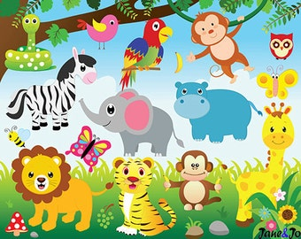 Jungle Animals Clipart and Digital paper ,Jungle clipart, Animals Clipart,safari,zebra,lion,elephant,monkey,giraffe clipart Zoo Clipart