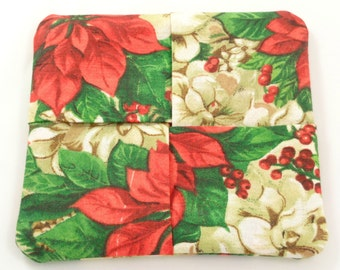 Red and Tan Poinsettias Folded Fabric Coasters, Christmas Fabric Coasters, Cotton Fabric Coasters, Set of 4, Set of Four