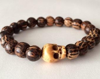Mens Skull Bracelet, Palm Wood, Mala Bracelet, Mens Beaded Bracelet, Mens Mala, Mens Bracelet, Men's Jewelry, Skull Jewelry, Gift for Him