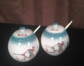 "Vintage Mid Century ""Forever Yours"" by BROCK of California,Pottery Forever Yours Sauce & Resish Covered Bowls"