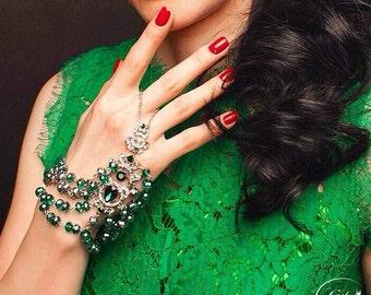 Crystal Bracelet, Emerald Bracelet, Statement Bracelet Slave, Slave bracelet