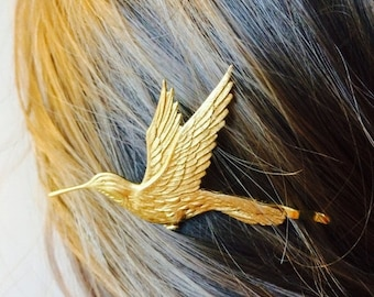 Soldered Gold hummingbird Hair Pin Bridal Hair Pin Bird bobby pin Bird Hair Clip Hair Accessory Woodland Wedding Hair Clip  Woodland
