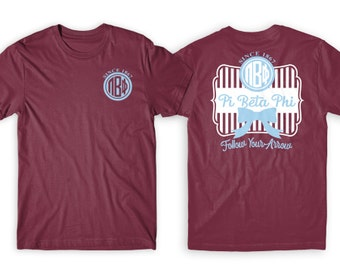 PiPhi Pi Beta Phi Striped Bow Motto Unisex Short Sleeve